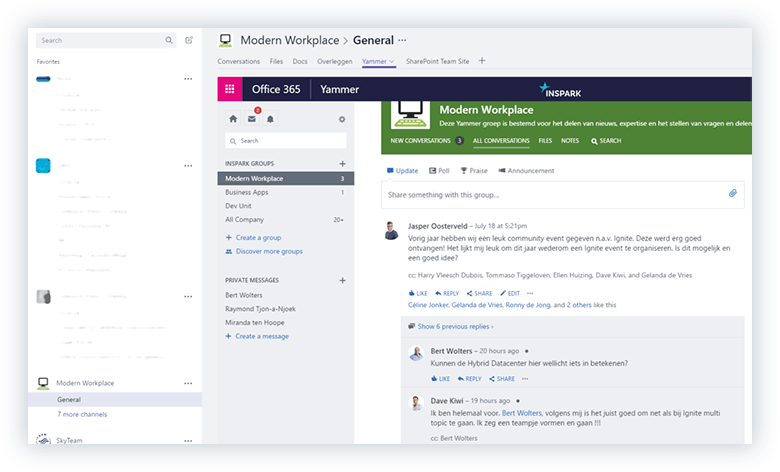 Microsoft Teams and Yammer integration