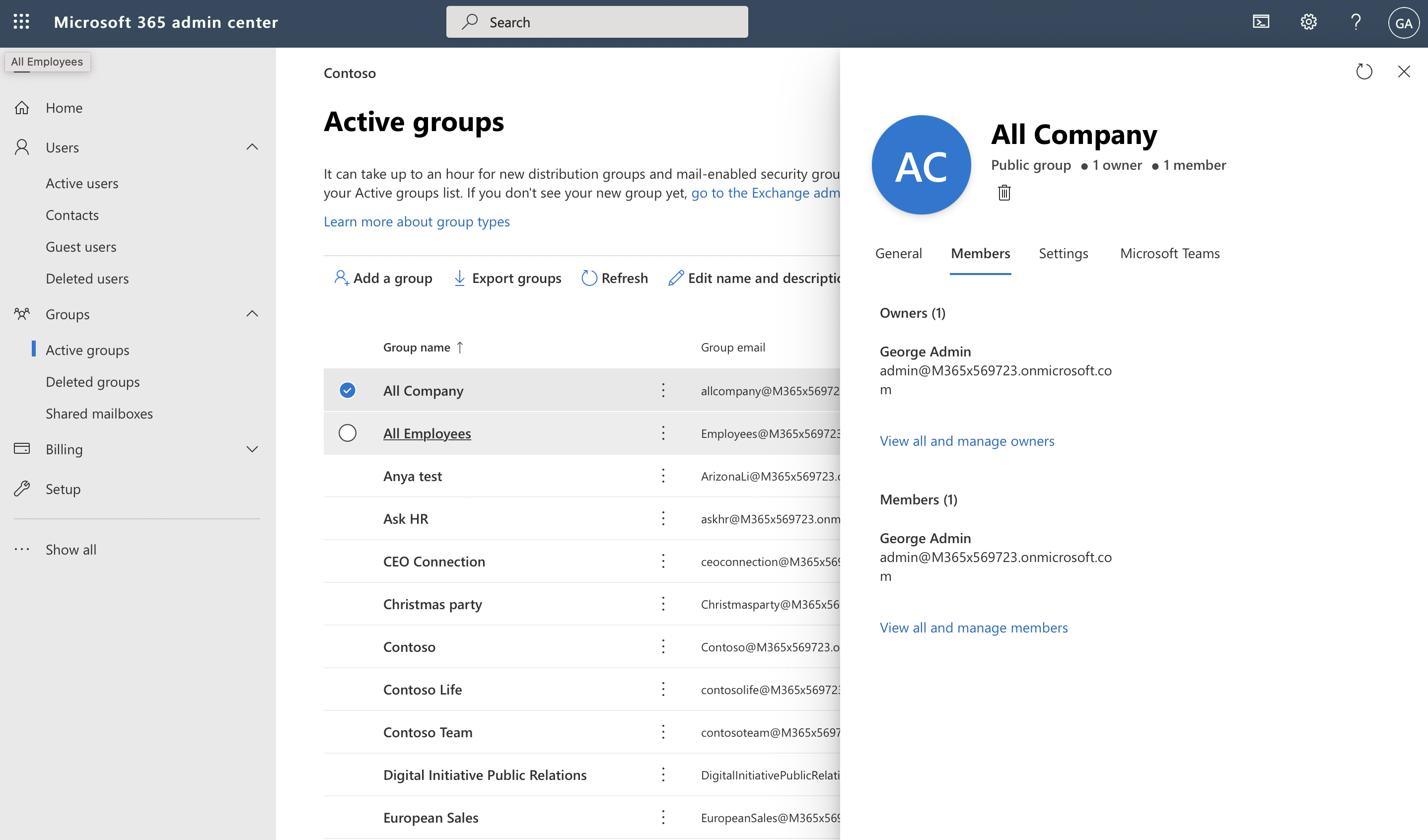 Screenshot of details for a Microsoft 365 group in the admin center.