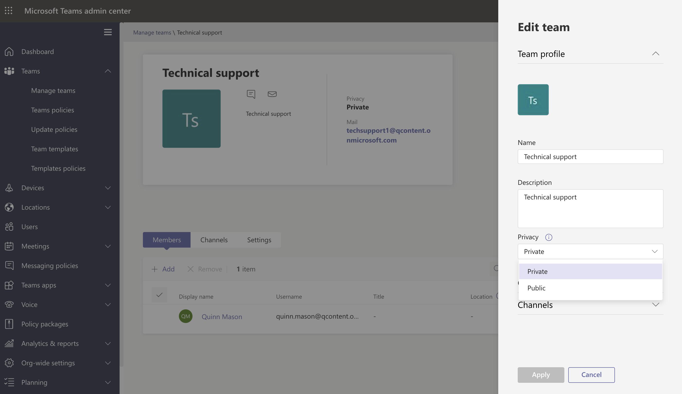 Screenshot of individual team settings in the Teams admin center.