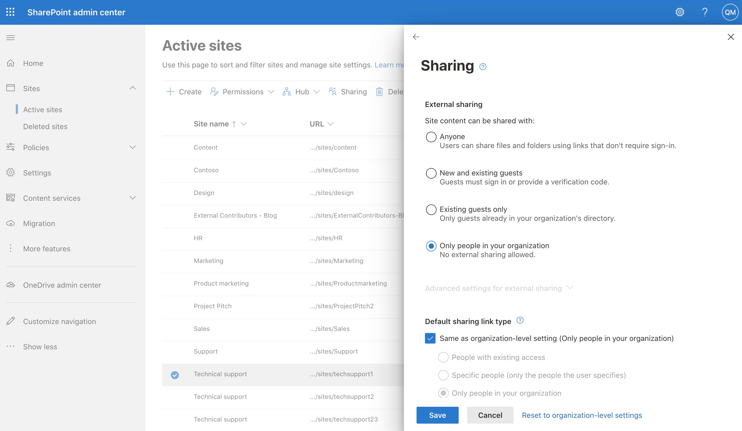 Screenshot of Sharing settings in the SharePoint admin center.