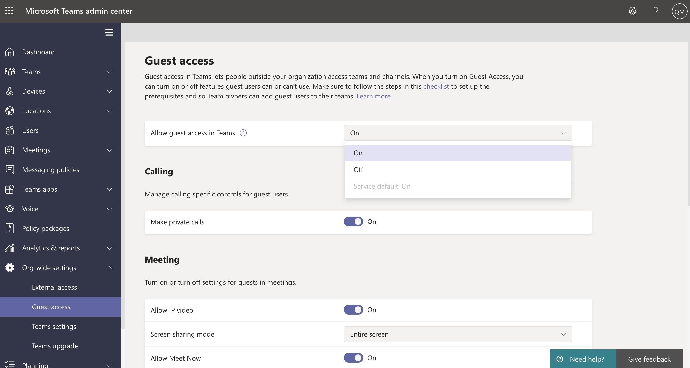 Screenshot of guest access settings in Teams admin center.